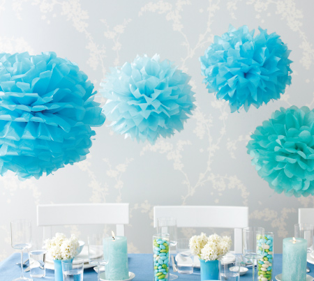 Blue Tissue Paper Flower Pom Poms